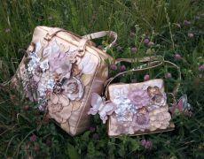 Set posete din piele,Diva in bloom -golden summer - set pentru mama si fiica; realizate la comanda ,vandute