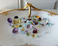 Faceted Gemstone Combo  Mixed Size and by LaurasJewelsandGems