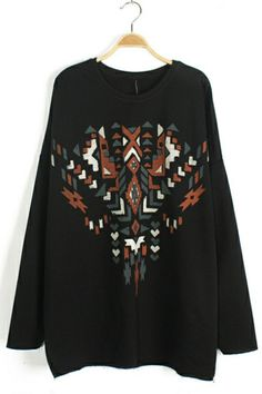 Black Geometric Detail Sweater OASAP.com