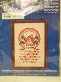 Golf, Rainbow Embroidery Kit, Needles n Hoops 246-G, Vintage, House Needlepoint…