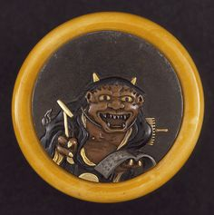 Eisai (Japan, died N/A)   Demon Soliciting Alms, late 19th century  Netsuke, Mixed-metal disk, ivory bowl; kagamibuta type,