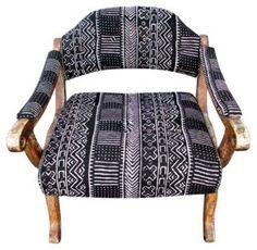 Curule Chair  w/ African Mud Cloth