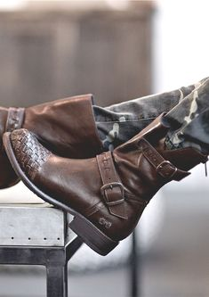 Dark brown leather short boot by BEDSTU. Hand woven detailing on the toe will make a statement.