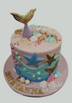 Mermaid Birthday Cake Ocean Birthday Cakes, Ocean Cakes, Beach Cakes, Birthday Cake Girls, Fondant Cakes, Cupcake Cakes, Bolo Sofia, Sirenita Cake, Bolo Floral