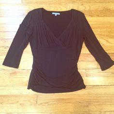 Black Classiques Enterier V-Neck Top Black top with v-neck and side ruching. Excellent condition and super flattering! Classiques Enterier Tops