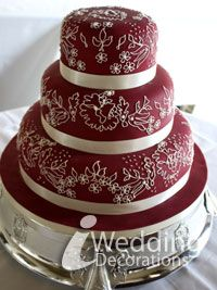 wedding cakes with deep red | wedding cake decoration in deep red