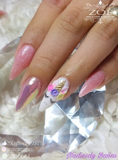 Unicorn nails hermosas pink
