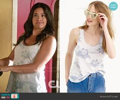 Gina Rodriguez, Jane The Virgin, Floral Tank Top, Printed Tank Tops, Tropical Flowers, Flower Prints, Tv Series, Fashion Outfits, Outfits