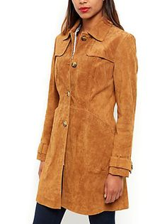 1970s-style tan suede trench coat at New Look