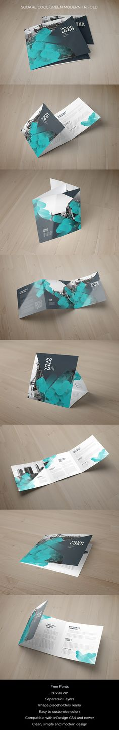 Square Cool Green Modern Trifold. Download here: http://goo.gl/qzwuhY