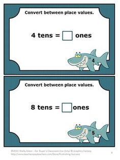 FREE Math Task Cards Converting Place Value - For buyer's single classroom use only.