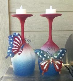Whimsical Patriotic Wine Glass Candle Holders - The Keeper of the Cheerios Wine Glass Crafts, Wine Craft, Wine Bottle Crafts, Bottle Art, Wine Bottles, Wine Decanter, Decorated Wine Glasses, Painted Wine Glasses, Decorated Bottles