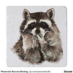 Watercolor Raccoon Blowing Kisses Funny art Trivets