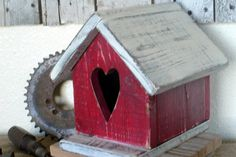 Rustic Red Valentines Day Birdhouse with Heart Home and Garden Decor. $29.00, via Etsy.