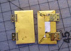 Dollhouse DIY - metal doors from cardboard + metallic paper + hinges