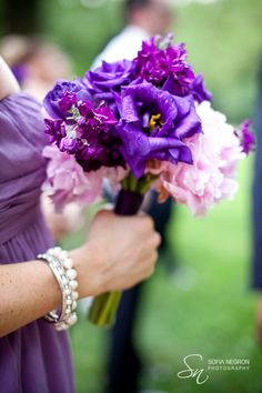 Don't particularly like this bouquet, but example of flower colors going with lavender dress
