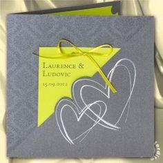 Faire-part de mariage Gris irisé et vert anis Paper Shopping Bag, Wedding Cards, Invitations, Inspiration, Card Ideas, Scrapbooking, Sewing, Envelopes, Wedding Grey