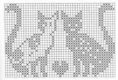Not in English but you have the grids. Filet Crochet Charts, Knitting Charts, Cross Stitch Charts, Cross Stitch Designs, Cross Stitch Patterns, Knitting Patterns, Crochet Patterns, Chat Crochet, Crochet Cross