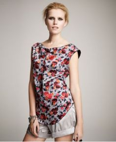 Available @ TrendTrunk.com BNWT Multi-Color Textured Satin Floral Print Sleeveless Blouse. By Impulse. Only $38.00!
