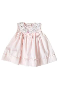 Traditional and classic little blush pink dress pink satin ribbon trim and hand-embroidered collar. Vintage inspired, elegant and ethical kids clothing. Summer Kids, Spring Summer 2018, Nautical Summer Dresses, Blush Pink Dresses, Ethical Clothing, Pink Satin, Pink Stripes, Kids Outfits, Baby Outfits