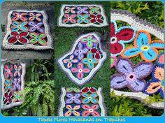 Tapete Flores Havaianas em Crochet com Trapilhos ou Fio de Malha, Crochet Rag Rug