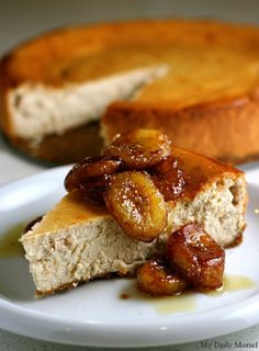Peanut Butter Yogurt Cheesecake with Caramelized Bananas