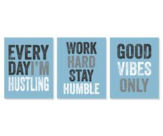 Office Decor 'Everyday I'm Hustling' Art Print Set by Picturality