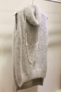Custom- tailored hedging long-haired mink sweaters sleeveless vest with high collar side slit mink hair coat vest waistcoat Winter Coats Women, Coats For Women, Clothes For Women, Cardigan, Knit Vest, Fleece Vest, Mohair Sweater, Cashmere Sweaters, Angora