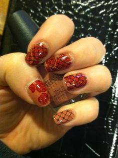 Nailed It! Pinup Retro Love, nuetral, red, fishnet, nails, manicure, nail stamping