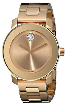 39f041e3d97 Movado Women s 3600104 Bold Gold Ion-Plated Bracelet Watch with Swarovski  Crystals