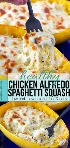 This chicken alfredo stuffed spaghetti squash is a fantastic way to have a healt. - This chicken alfredo stuffed spaghetti squash is a fantastic way to have a healthier version of a favourite comfort food! Low Carb Meal, Low Calorie Dinners, No Calorie Foods, Low Calorie Recipes, Low Calorie Sauces, Low Calorie Pasta, Healthy Low Calorie Meals, Low Carb Spaghetti, Spaghetti Squash Recipes