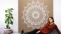 The Valentine Mandala wall canvas Mandala Mural, Mandala On Wall, Mandala Art Lesson, Mandala Stencils, Mandala On Canvas, Mandala Painting, Painting Abstract, Wall Painting Decor, Mural Wall Art