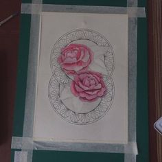 4 - I painted in the peonies using mixes of the shades perm carmine, cadmium red, french ultramarine and perm rose.  The range of colours I used heped to create a delicate look to the flowers and a likeliness to pink peonies. It was difficult matching the colour of the peonies so that the colour wasn't too harsh but so that it was still bright, with a delicate touch.