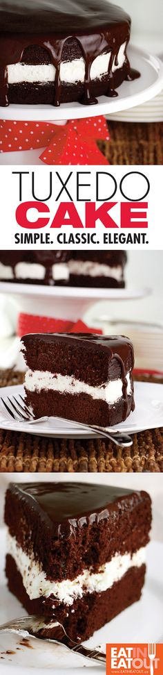 "Tuxedo Cake is the ""little black dress"" of desserts. Moist dark chocolate cake layers with whipped cream and chocolate ganache. A classic!"
