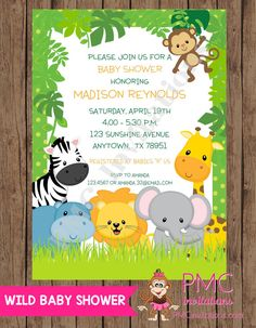 Custom Printed Wild Animals, Jungle, Safari Baby Shower Invitations   1.00  Each With Envelope