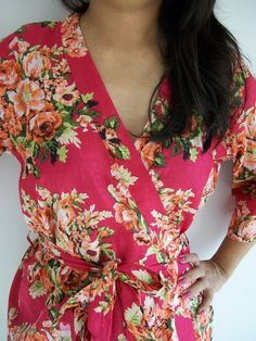 Lovely Floral Kimono Crossover patterned Robe Wrap  by JustCottons, $27.50