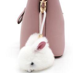 Cute Mini Pompo Bunny Keychain Trinket Pom Pom Rabbit Fur Key Chain Car Women Bag Key Ring Chaveiro Jewelry Toys New Year Gifts