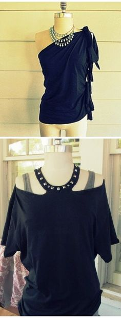 T-Shirt DIY - No Sew, One Shoulder Shirt and Jewelled Halter. I love the one on bottom... I wonder how it looks in the back?
