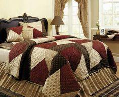 Country and Primitive Bedding, Quilts - Crazy Quilt Bedding by IHF - Country Decor, Primitive Decor, Bedding, Braided Rugs
