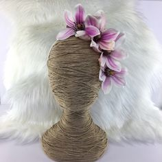 Purple Mauve Magnolia Bloom Headband Floral / Artificial Fake Flowr Crown / Silk Fascinator / Melbourne Cup Races Race Hair Piece Floral by FauxFloralCo on Etsy https://www.etsy.com/au/listing/486887655/purple-mauve-magnolia-bloom-headband
