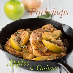 Pork Chops Apples and Onions, with a hint of maple and sage, is a classic comfort-food which is naturally paleo and gluten free. #Paleo #Primal #GrainFree #GlutenFree #paleocomfortfood #porkchops #weeknightmeal