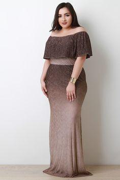 Metallic Ombre Flutter Tier Maxi Dress - Plus Size Girls Maxi Dresses, Maxi Gowns, Plus Size Maxi Dresses, Cute Dresses, Fashion Dresses, Amazing Dresses, Dress Skirt, Dress Up, Plus Size Summer Outfit