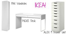 : Designing My New Makeup Vanity Room! Already found most of the stuff to do it! Ikea Micke, Micke Desk, Make Up Organizer, Make Up Storage, Vanity Room, Diy Vanity, Vanity Desk Ikea, Ikea Hackers, Rangement Makeup