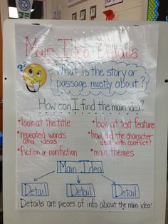 Main Idea and Details Anchor Chart - instead of bottom draw a table with legs to support! Reading Comprehension Skills, Reading Strategies, Reading Skills, Teaching Reading, Learning, Too Cool For School, School Fun, School Ideas, School Stuff