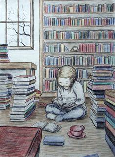 Taza de té y libritos.