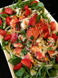 Photo: If you loved the Watermelon Salad then you NEED to check out my Lobster Fennel Salad! Chilled lobster salad with fennel, sweet peppe. Lobster Recipes, Seafood Recipes, Cooking Recipes, Healthy Salads, Healthy Eating, Healthy Recipes, Skinny Recipes, Delicious Recipes, Salad Bar