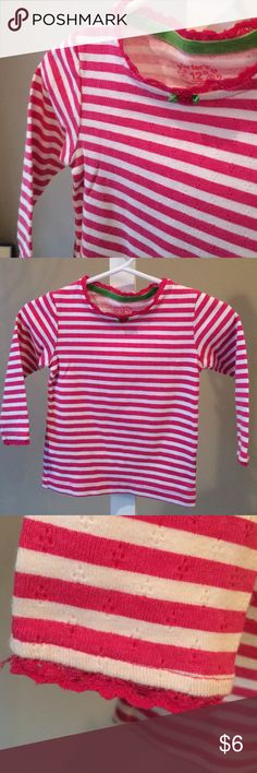 Pink Striped Top w/ Lace and Rosette Details. Sweet long sleeve top.  Hardly worn if at all. Carter's Shirts & Tops Tees - Short Sleeve