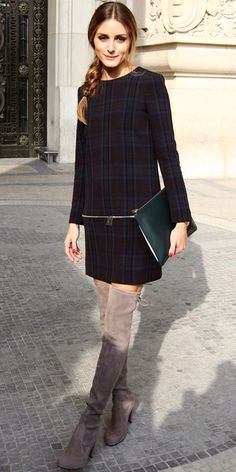 Long suede fawn boots, plaid, Olivia Palermo instyle