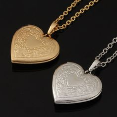 *Free Shipping* Unique Locket Necklace Women Fashion Jewelry Wholesale Platinum/18K Real Gold Plated Colar Romantic Heart Pendant Necklace P318
