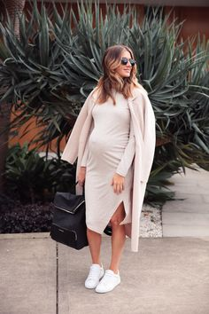 Kate Waterhouse.. Witchery coat, General Pants dress, Witchery trainers, and Country Road backpack.. #stylethebump #chicbump